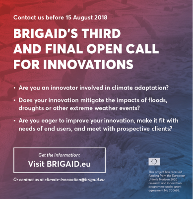The third and final call for innovation is open in BRIGAID !