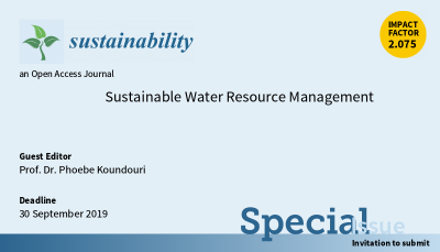 "A special issue of Sustainability Journal (ISSN 2071-1050) entitled ""Sustainable Water Resource Management"" is now open for submission."