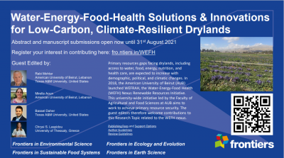 "New Research Topic on Frontiers: ""Water-Energy-Food-Health Solutions & Innovations for Low-Carbon, Climate-Resilient Drylands"""