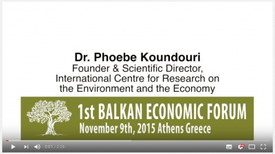 1st Balkan Economic Forum - Prof. Phoebe Koundouri on Environmental Resources and Conflict