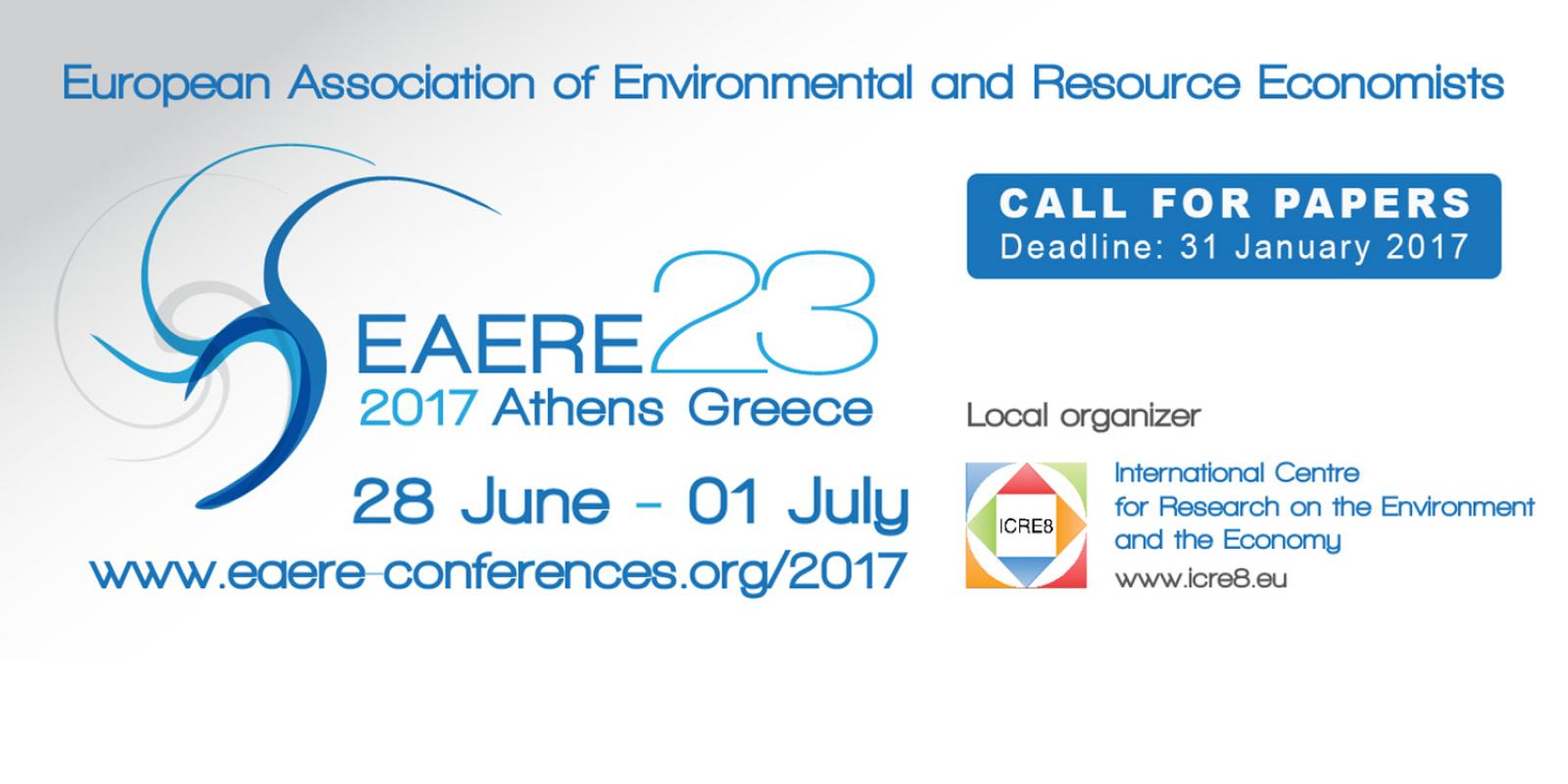 EAERE 2017 CALL FOR PAPERS IS NOW OPEN!