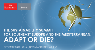 "ICRE8 and UN SDSN Greece support The Economist Sustainability Summit ""Adapt or Die?"""
