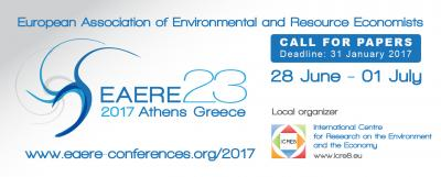 The deadline for submission of papers to the EAERE 2017 conference is approaching fast!